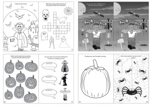 Halloween Theme Puzzle Books and Crayon Sets